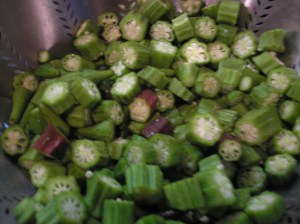 Add okra and cook until tender.