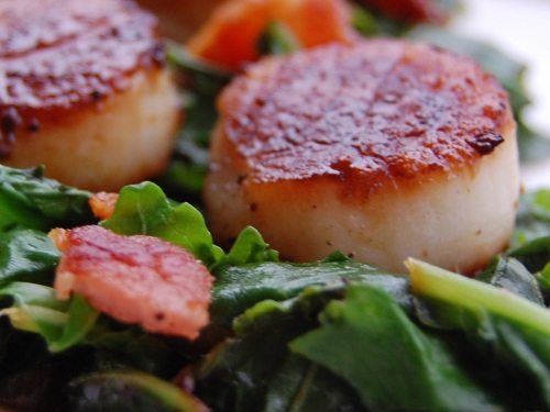 Pan Seared Scallops with Bacon and Kale | The Teacher Cooks