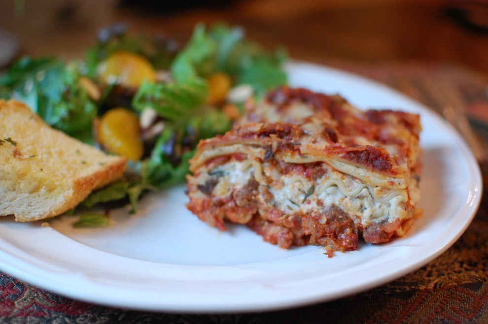 Bolognese lasagna with porcini ricotta filling the teacher cooks for Better homes and gardens lasagna
