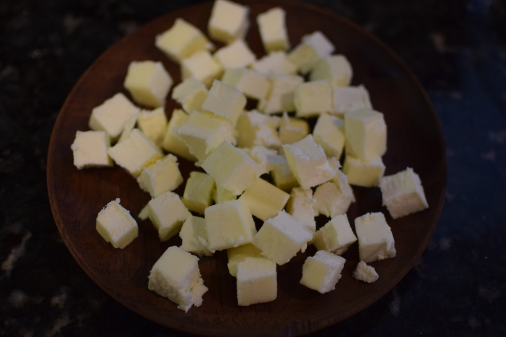 12 tablespoons chilled butter in cubes